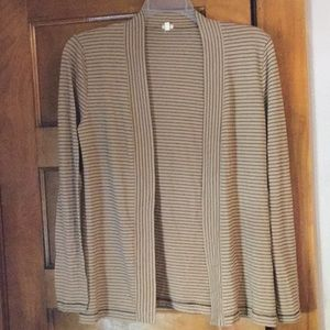 J Crew striped open front cardigan